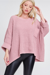 Oversized Pink Chunky Sweater