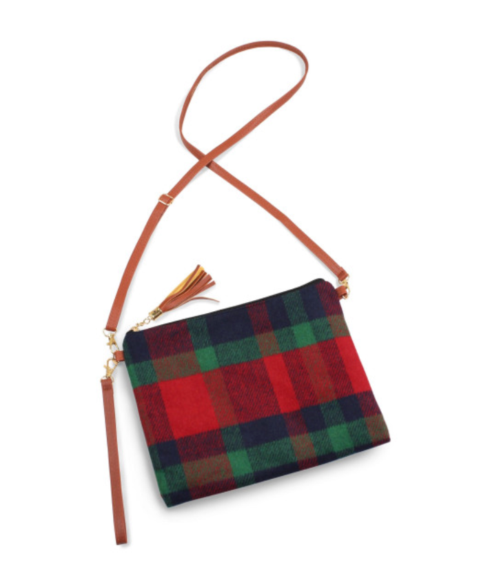 Navy Plaid Crossbody