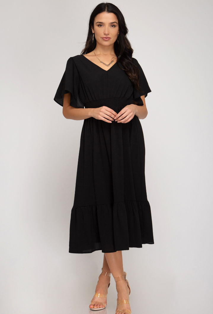 Black Midi Flutter Dress