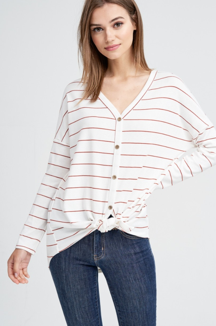 Red Striped Knot Top