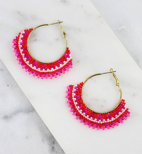 Hot Pink Beaded Hoop Earrings