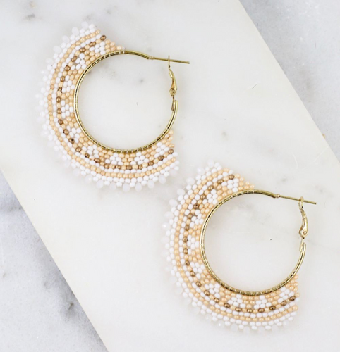 Ivory Beaded Hoop Earrings