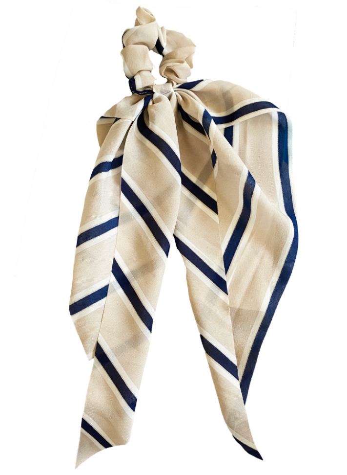 Tan Striped Scrunchie Scarf