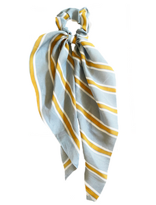 Light Blue Striped Scrunchie Scarf