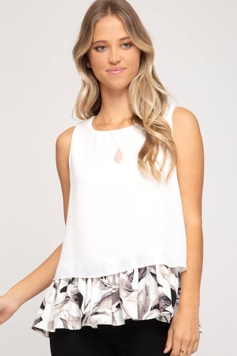 White Tank with Floral Hem