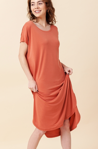 Terra Cotta Midi T-Shirt Dress