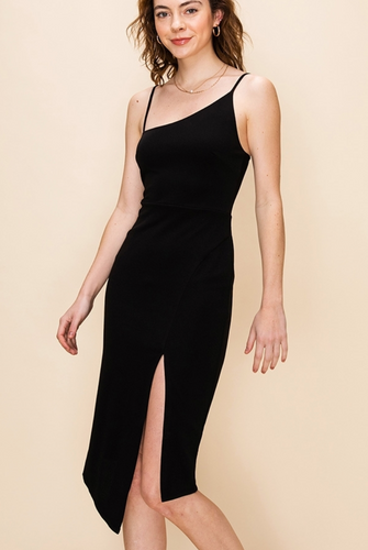 Asymmetrical Black Midi Dress