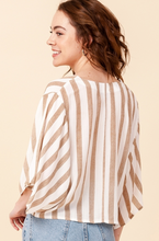 Taupe Striped Top