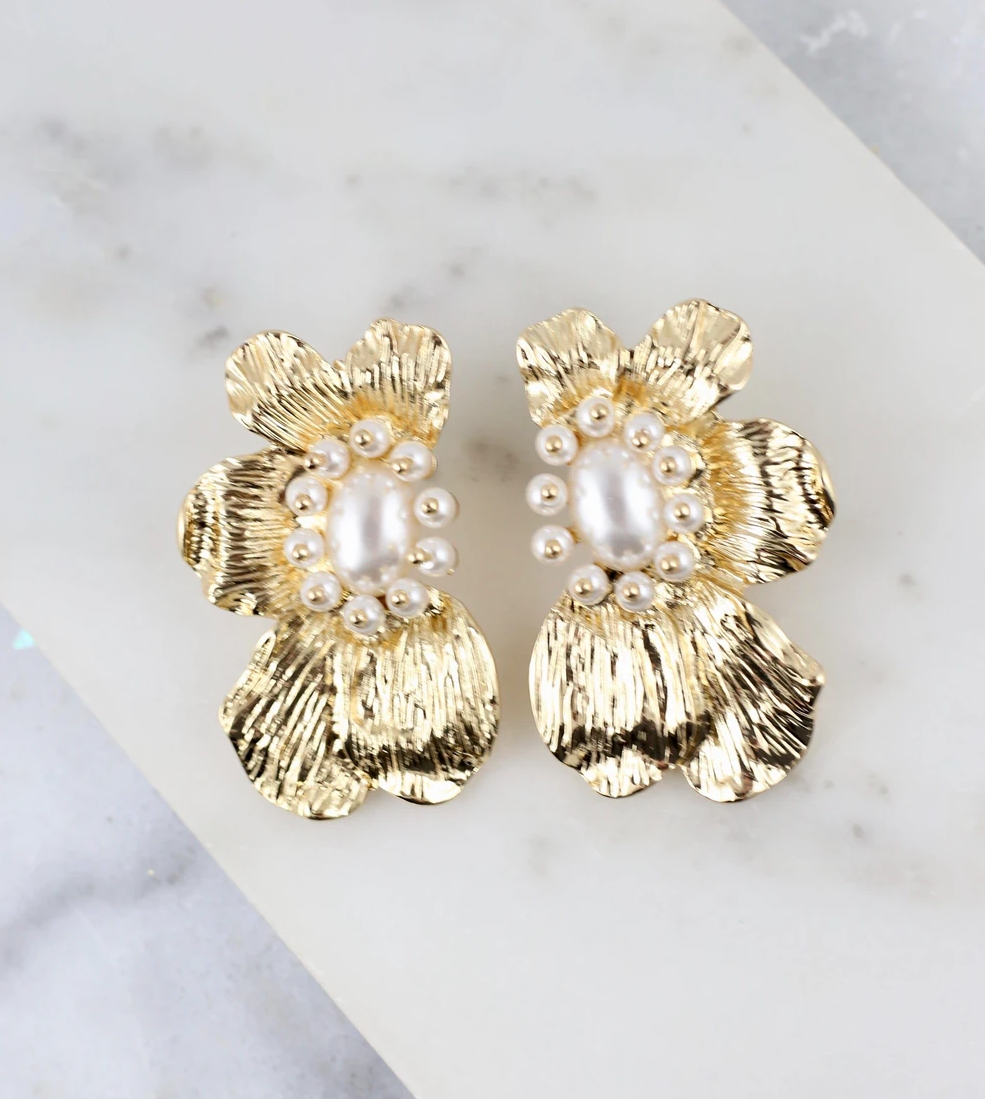 Gold Flower Studs with Pearls
