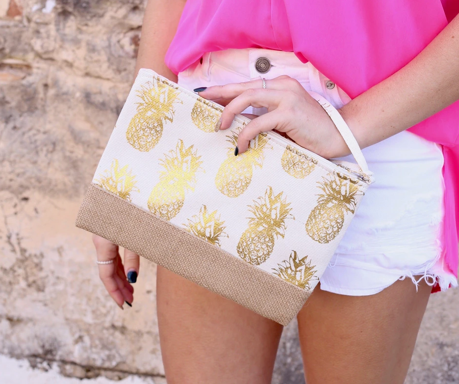 Gold Pineapple Wristlet