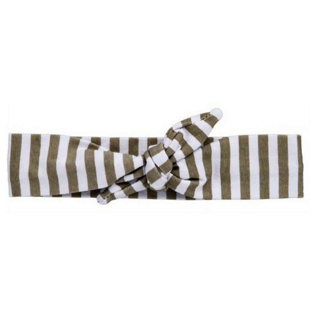Grey Striped Knotted Headband