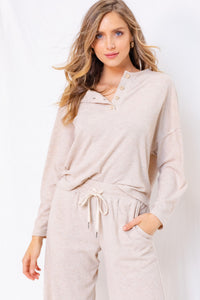 Oatmeal Button Long Sleeve