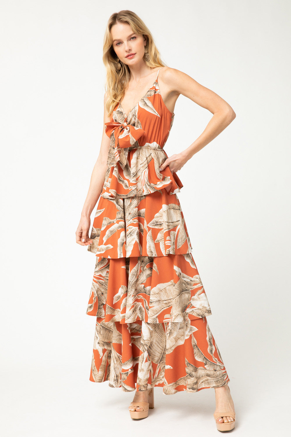 Orange Palm Maxi Dress