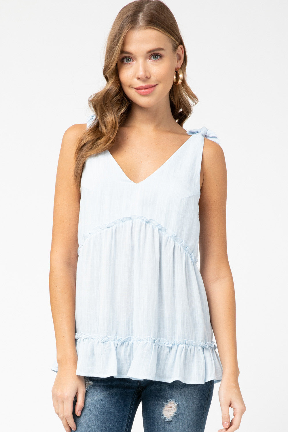 Powder Blue Ruffle Tank