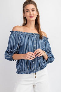 Dark Denim Striped OTS Top