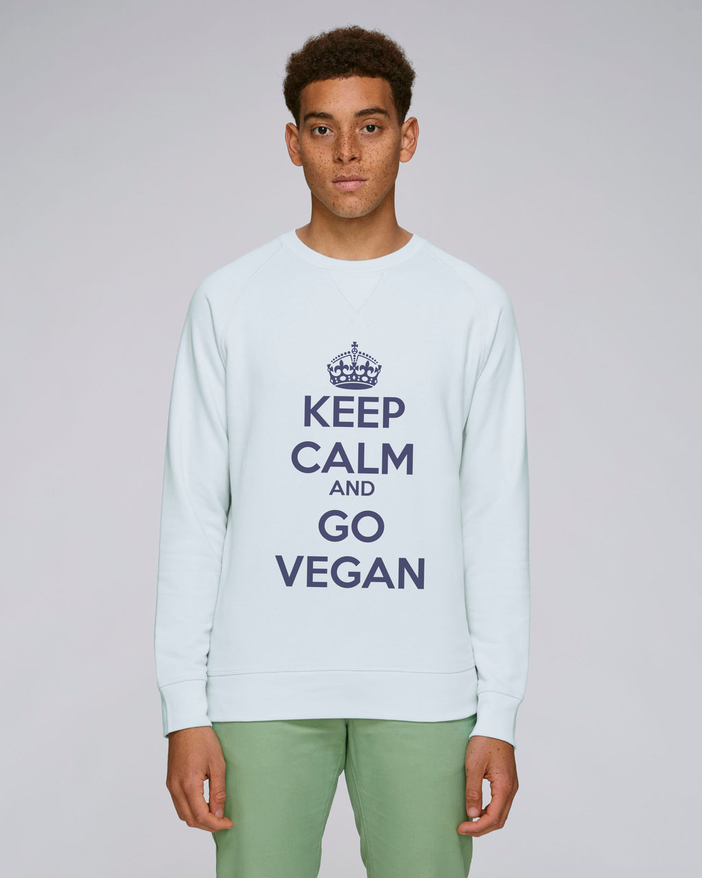 KEEP CALM AND GO VEGAN - Sweatshirt homme - Raglan