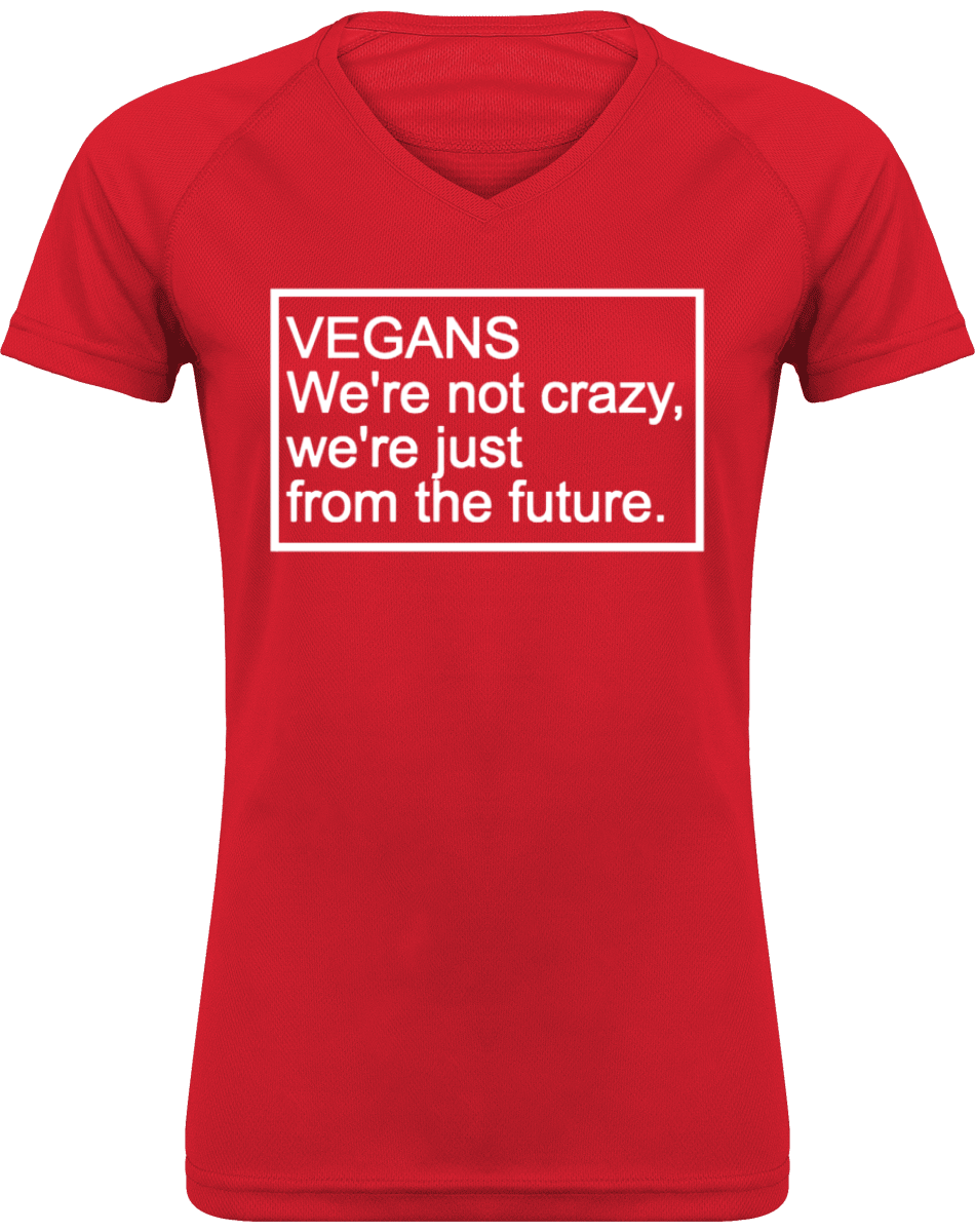 Tee Shirt Sport Femme Col V - Vegans we are not crazy