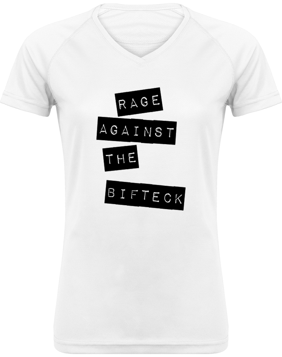 Tee Shirt Sport Femme Col V - Rage against the bifteck
