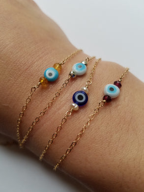 Evil Eye and Gemstone Bracelet