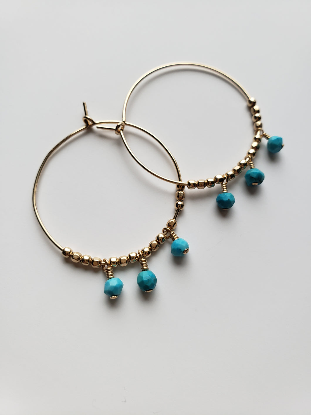 Beaded and Gemstone Hoop Earring - Small