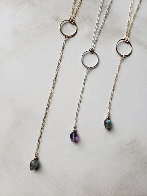 Teardrop Gemstone Lariat