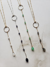 Teardrop Gemstone Segmented Lariat