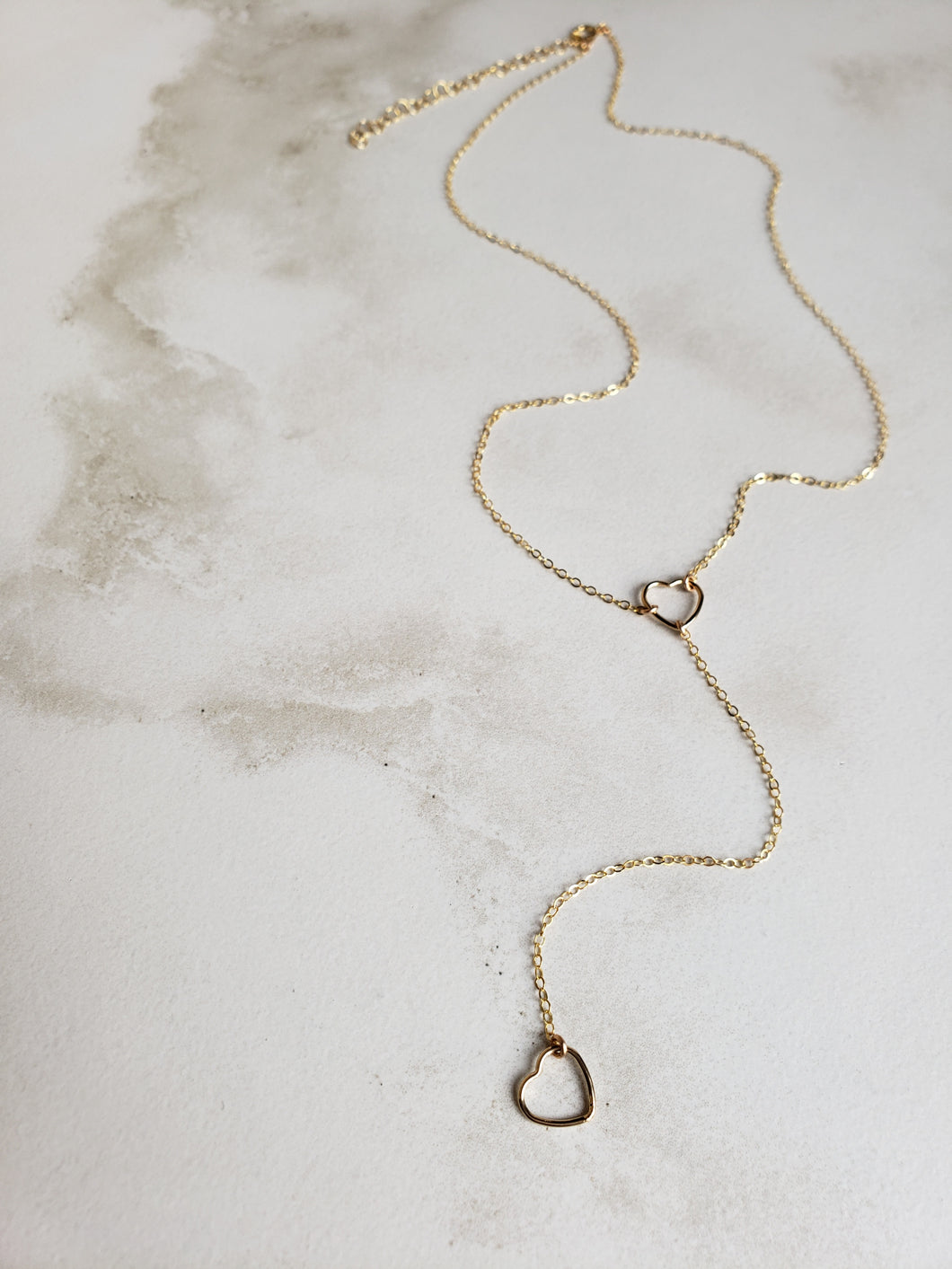 Delicate Open Heart Lariat Necklace