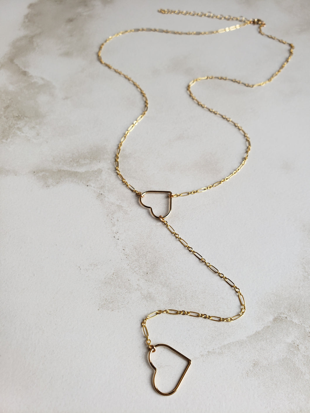 Large Open Heart Lariat Necklace