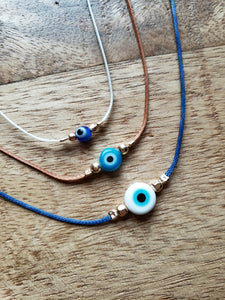 Evil Eye String Bracelet - 6mm Bead