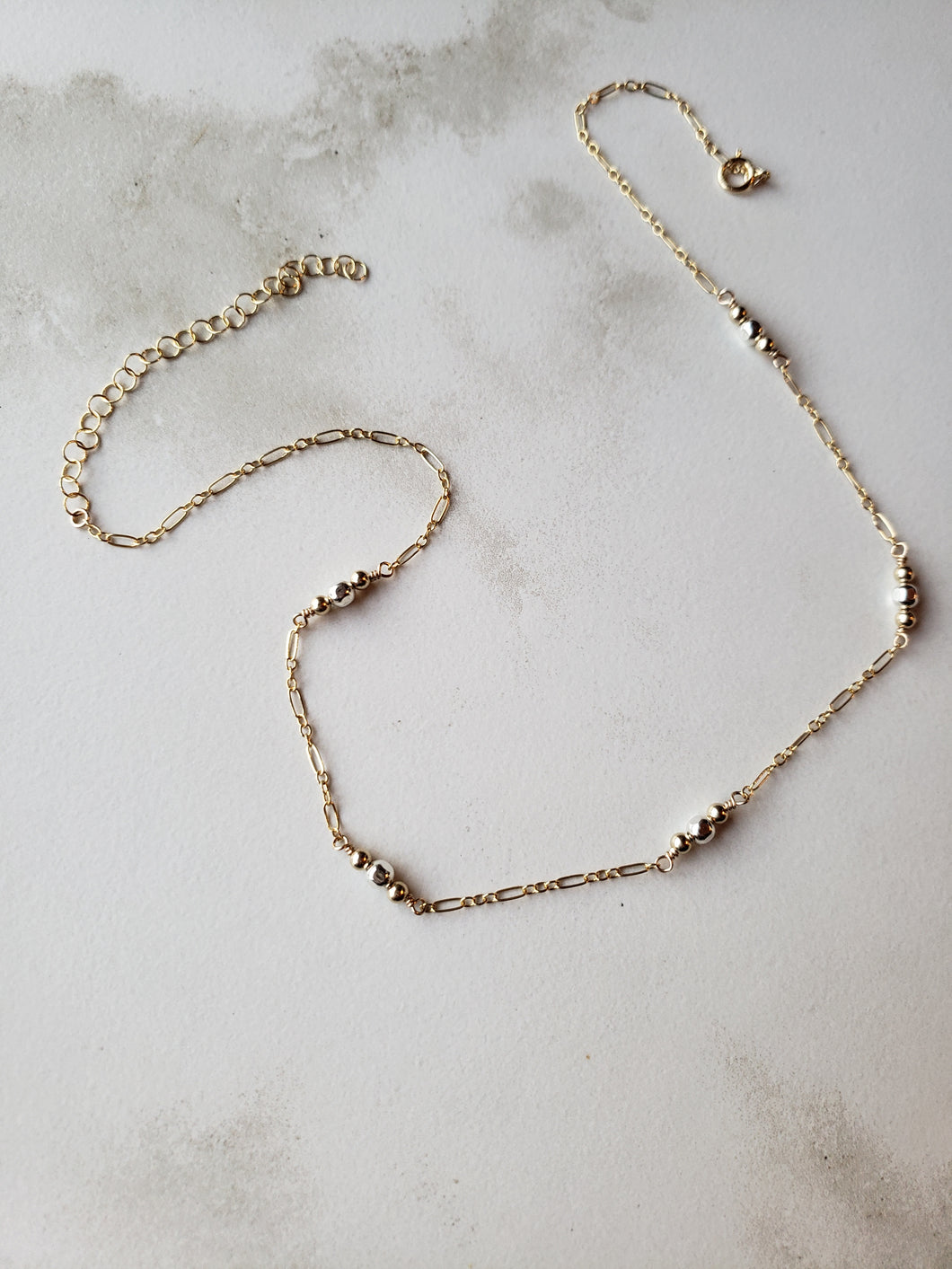 Mixed Metals Segmented Necklace on Larger Chain
