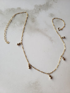 Mixed Metals Dangle Necklace on Larger Chain