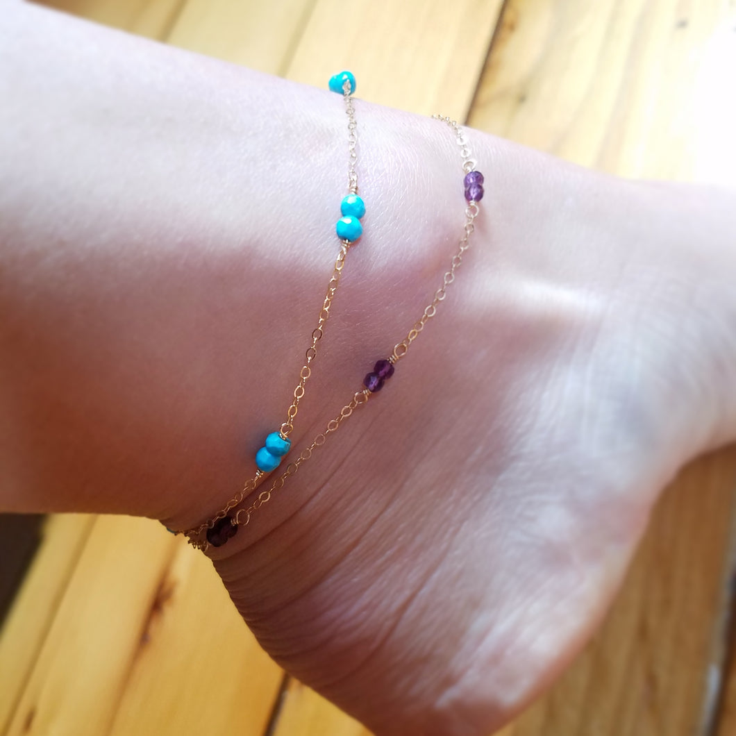 Segmented Gemstone Anklet