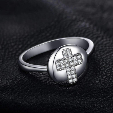 0.11ct Round Cubic Zirconia Cross Motif Ring | TeresaClare