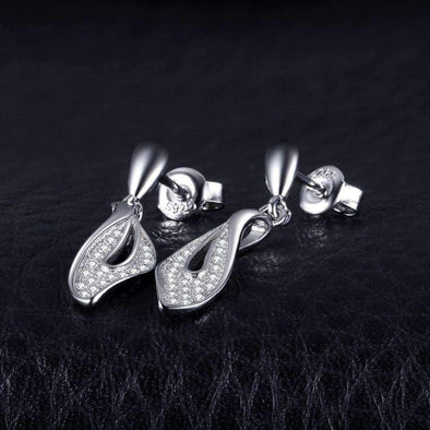 0.2ct Round Leaf Cubic Zirconia Drop Earrings | TeresaClare