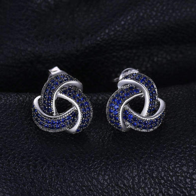 0.5ct Blue Spinel Flower Wraparound Cluster Studs Earrings | TeresaClare