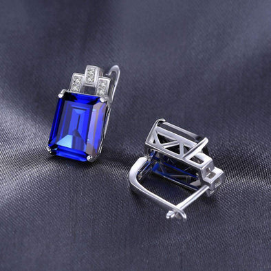 11ct Luxury Ocean Blue Sapphire Clip Earrings | TeresaClare