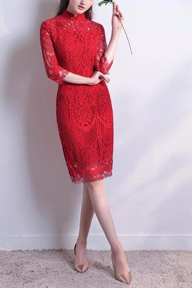 1/2 Sleeves High Neck Cocktail Dress With Lace | TeresaClare