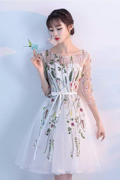 1/2 Sleeves Knee-Length Homecoming Dress With Embroidery | TeresaClare