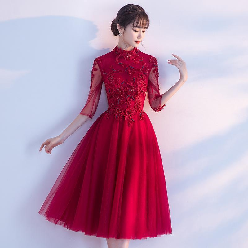 Shop 1 2 Sleeves Tea-Length Ball Gown Tulle Evening Dress Now ... 1083fc217