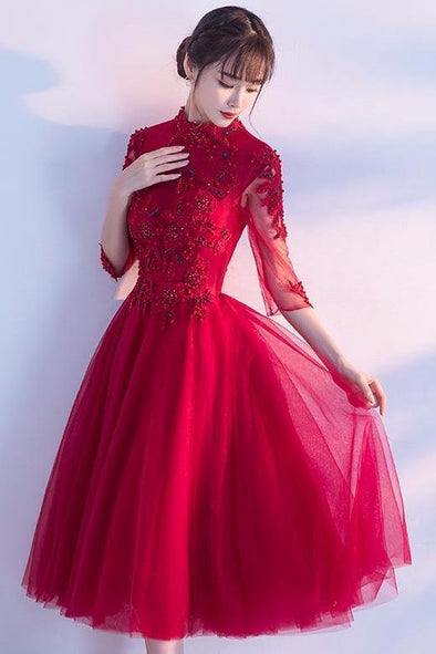 1/2 Sleeves Tea-Length Ball Gown Tulle Evening Dress | TeresaClare