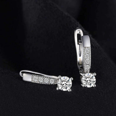 1ct Clip 925 Sterling Silver Zircon Earrings | TeresaClare