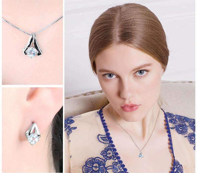 2.2ct Genuine Sky Blue Topaz Pendant Necklace Stud Earrings Jewelry Set | TeresaClare