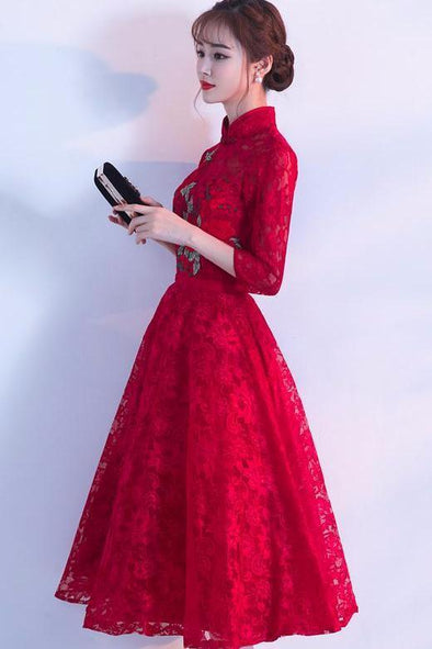 3/4 Sleeves Tea-Length High Neck Evening Dress | TeresaClare