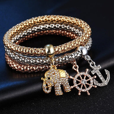 3Pcs Heart Charm Elastic Bracelets For Women | TeresaClare