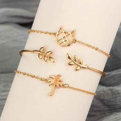 3pcs/set Cat Leaf Coconut Tree Charm Bracelet | TeresaClare