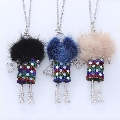 5 Colors Fur Handmade French Doll Statement Necklaces | TeresaClare