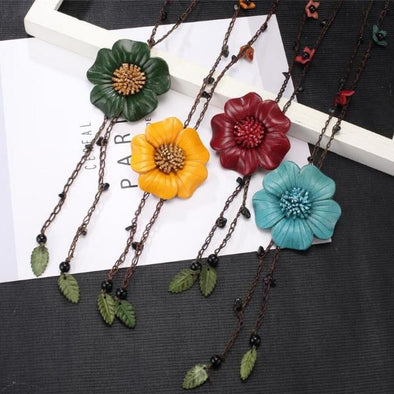 6 Colors Leather Flower Leaves Pendant Necklace | TeresaClare