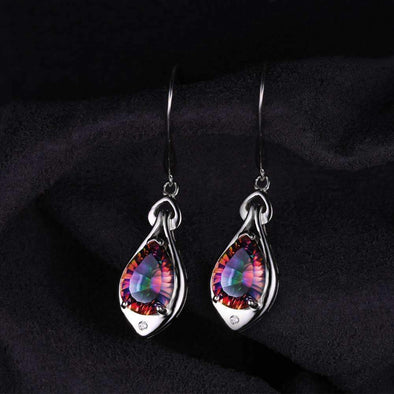 6.8ct Rainbow Fire Mystic Topaz Dangle Water Drop Earrings | TeresaClare