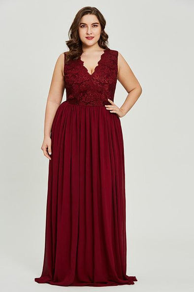 8-16 Plus Size A-Line Burgundy Sleeveless V-Neck Prom Dress | TeresaClare