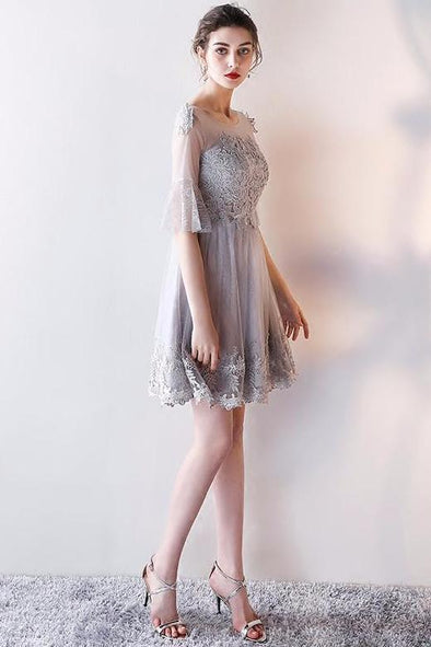 A-Line 1/2 Sleeved Homecoming Dress With Lace And Ruffles | TeresaClare